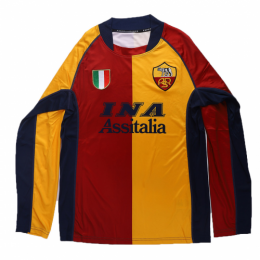 01/02 Roma Third Away Red&Yellow Retro Long Sleeve Jerseys Shirt