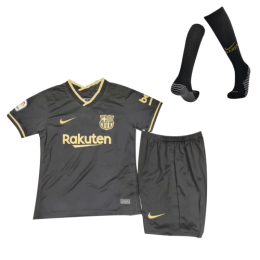 20/21 Barcelona Away Black Children's Jerseys Kit(Shirt+Short+Socks)
