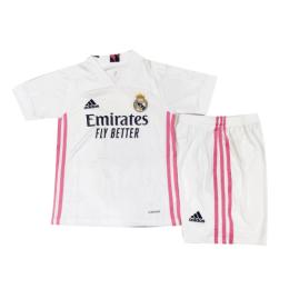 20/21 Real Madrid Home White Children's Jerseys Kit(Shirt+Short)