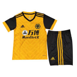 20/21 Wolverhampton Wanderers Home Yellow&Black Children's Jerseys Kit(Shirt+Short)