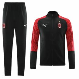 20/21 AC Milan Black High Neck Collar Training Kit(Jacket+Trouser)
