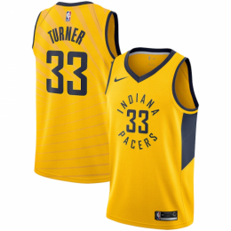 Men's Indiana Pacers Myles Turner No.33 Nike Gold Replica Swingman Jersey - Statement Edition