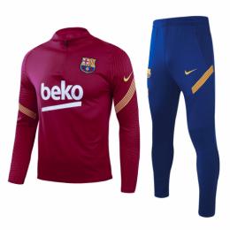 20/21 Barcelona Dark Red Zipper Sweat Shirt Kit(Top+Trouser)