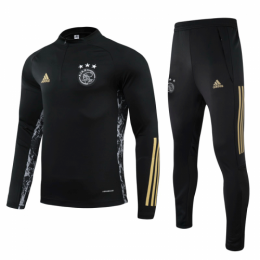 20/21 Ajax Black Zipper Sweat Shirt Kit(Top+Trouser)