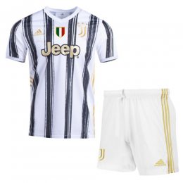 20/21 Juventus Home Black&White Soccer Jerseys Kit(Shirt+Short)