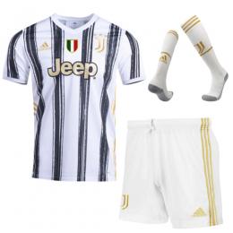 20/21 Juventus Home Black&White Soccer Jerseys Whole Kit(Shirt+Short+Socks)