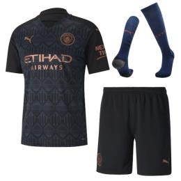 20/21 Manchester City Away Black Jerseys Whole Kit(Shirt+Short+Socks)