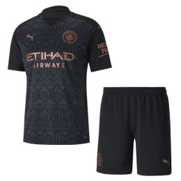 20/21 Manchester City Away Black Jerseys Kit(Shirt+Short)