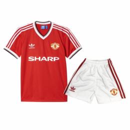82/84 Manchester United Home Red Retro Children's Jerseys Kit(Shirt+Short)