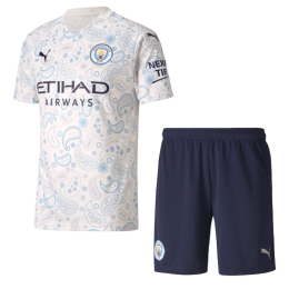 20/21 Manchester City Third Away White Jerseys Kit(Shirt+Short)