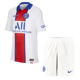 20/21 PSG Away White&Red Soccer Jerseys Kit(Shirt+Short)