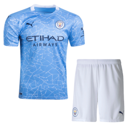 20/21 Manchester City Home Blue Jerseys Kit(Shirt+Short)
