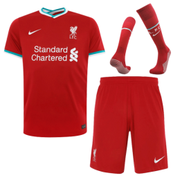 20/21 Liverpool Home Red Soccer Jerseys Whole Kit(Shirt+Short+Socks)