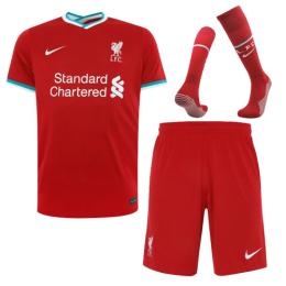 20/21 Liverpool Home Red Soccer Jerseys Whole Kit(Shirt+Short+Socks)