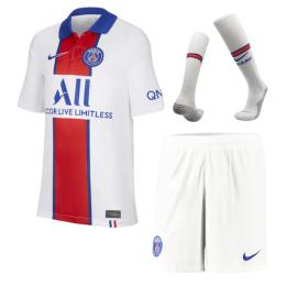 20/21 PSG Away White&Red Soccer Jerseys Whole Kit(Shirt+Short+Socks)