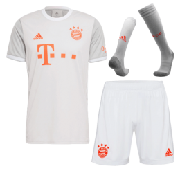20/21 Bayern Munich Away Gray Jerseys Whole Kit(Shirt+Short+Socks)