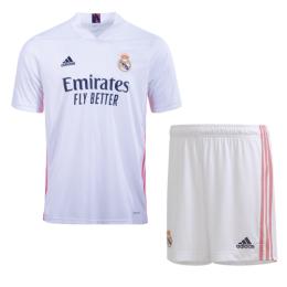 20/21 Real Madrid Home White Soccer Jerseys Kit(Shirt+Short)