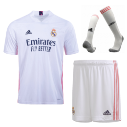 20/21 Real Madrid Home White Soccer Jerseys Whole Kit(Shirt+Short+Socks)