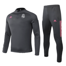 20/21 Real Madrid Gray Zipper Sweat Shirt Kit(Top+Trouser)