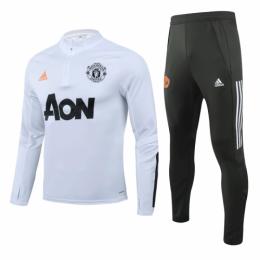 20/21 Manchester United White Zipper Sweat Shirt Kit(Top+Trouser)