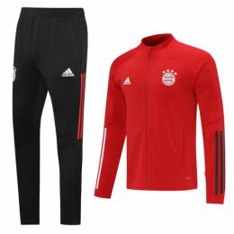 20/21 Bayern Munich Red High Neck Collar Training Kit(Jacket+Trouser)