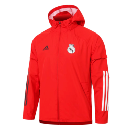 20/21 Real Madrid Red Windbreaker Hoodie Jacket