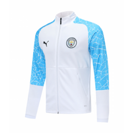 20/21 Manchester City White&Blue High Neck Collar Training Jacket