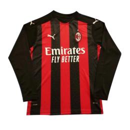 20/21 AC Milan Home Red&Black Long Sleeve Jerseys Shirt