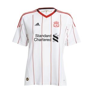 hot sales d61a5 39d2c 10/11 Liverpool White Away Soccer Jersey Shirt Replica
