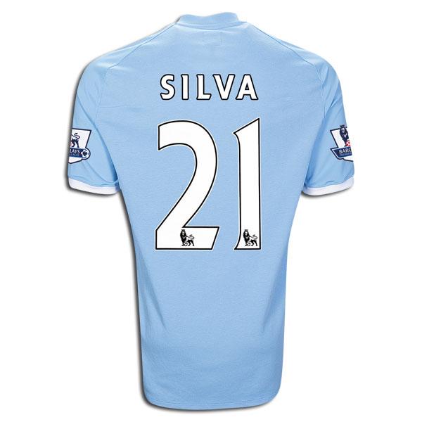 best service 56eb6 b0476 10-11 Manchester City #21 David Silva Home Jersey Shirt