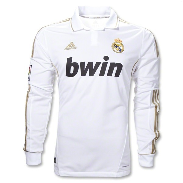 on sale 6cc8b 1a169 11/12 Real Madrid White Home Long Sleeve Soccer Jersey Shirt Replica