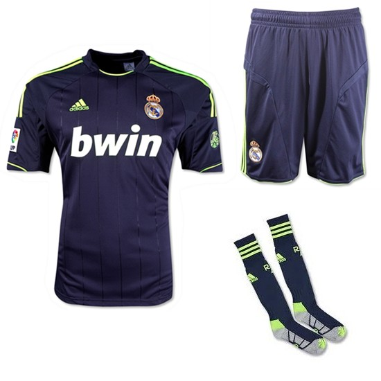 new arrival f85ab e366a 12/13 Real Madrid Replica Black Away Soccer Jersey Whole Kit  (Shirt+Short+Socks)