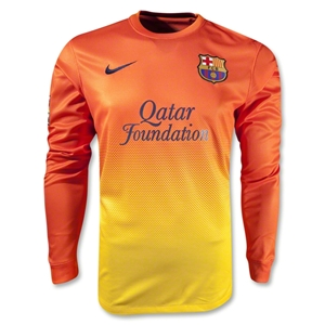 12 13 Barcelona Orange Away Long Sleeved Soccer Jersey Shirt Replica ... e7320397d