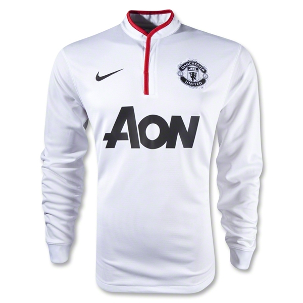 12 13 Manchester United White Away Long Sleeve Soccer Jersey Shirt Replica 2653e0b93