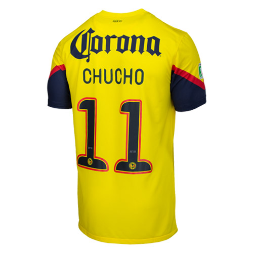 63bb5eed6 12 13 Club America Aguilas Chucho  11 Home Yellow Soccer Jersey Shirt  Replica ...