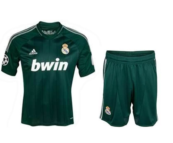 feca13a7097 12 13 Real Madrid Replica Green Away Soccer Jersey Kit (Shirt+Short ...