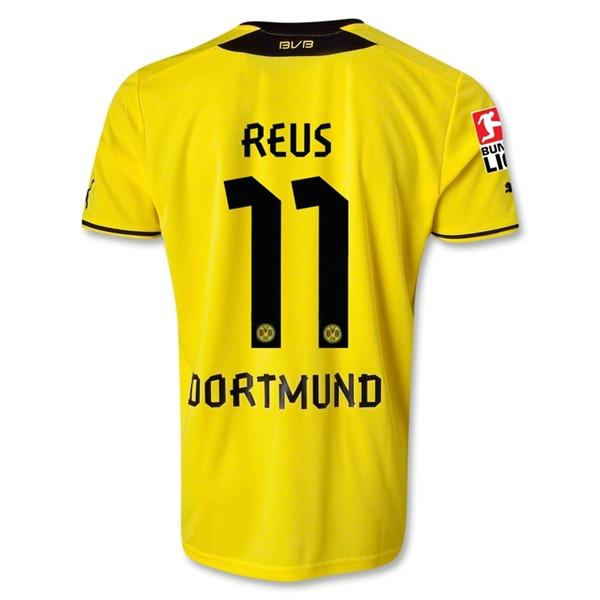 wholesale dealer 5fa53 4e8ce 13-14 Borussia Dortmund #11 REUS Home Jersey Shirt