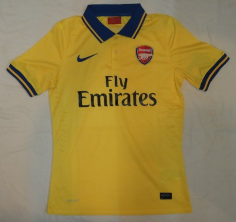 60478dc15 13-14 Arsenal Away Yellow Jersey Shirt(Player Version). Delivery  Free  Shipping Worldwide.