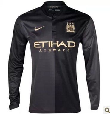 c9b674c5af4d0 13-14 Manchester City Away Black Long Sleeve Jersey Shirt picture and image  1