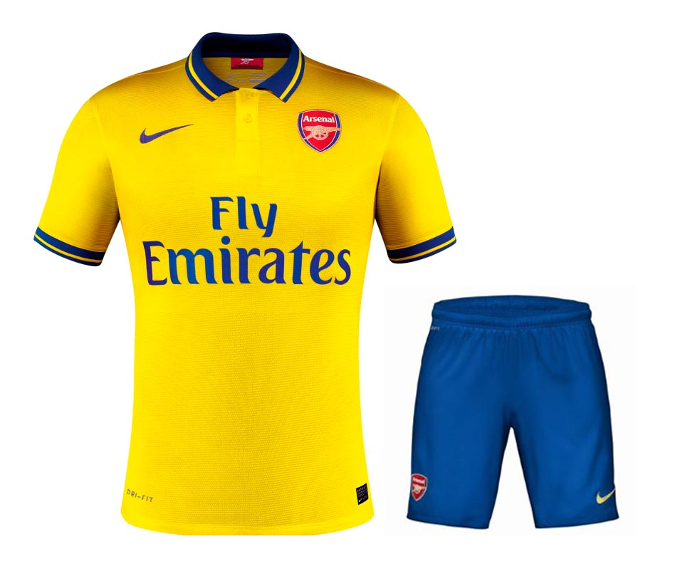 d6193456069 13-14 arsenal away yellow jersey kit(shirt+short)