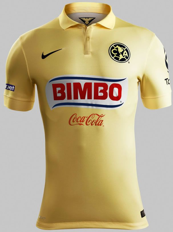 sports shoes e548f c372a 2014 Club America Home Yellow Soccer Jersey Shirt