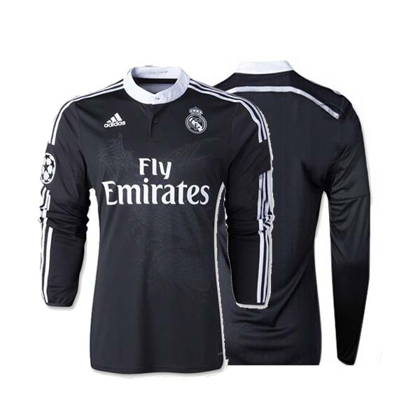 new product d1000 fbde8 14-15 Real Madrid Away black Long Sleeve Jersey Shirt