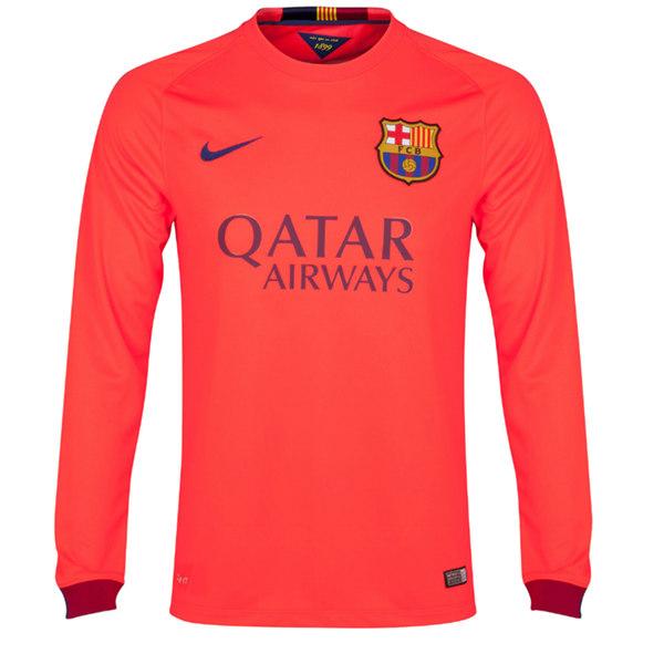 e1ff02354 14-15 Barcelona Away Pink Long Sleeve Soccer Jersey whole Kit(Shirt+Short+ Socks)