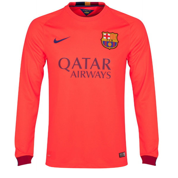 lowest price 443eb 71521 14-15 Barcelona Neymar JR #11 Away Pink Long Sleeve Soccer Jersey Shirt
