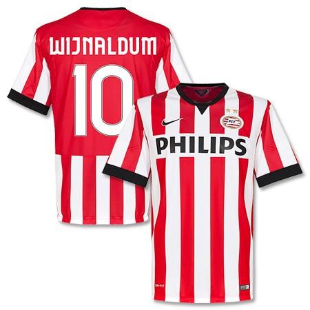 quality design 157d1 7ce64 14-15 PSV Eindhoven Wijnaldum #10 Home Red&White Jersey Shirt