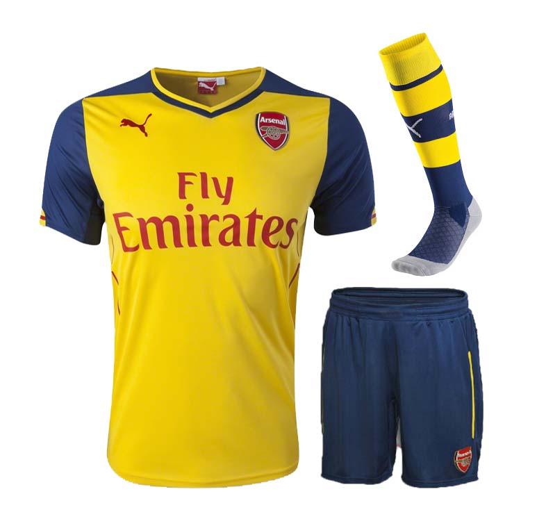 best sneakers cb582 ecddc 14-15 Arsenal Away Yellow Whole Kit(Shirt+Short+Socks)