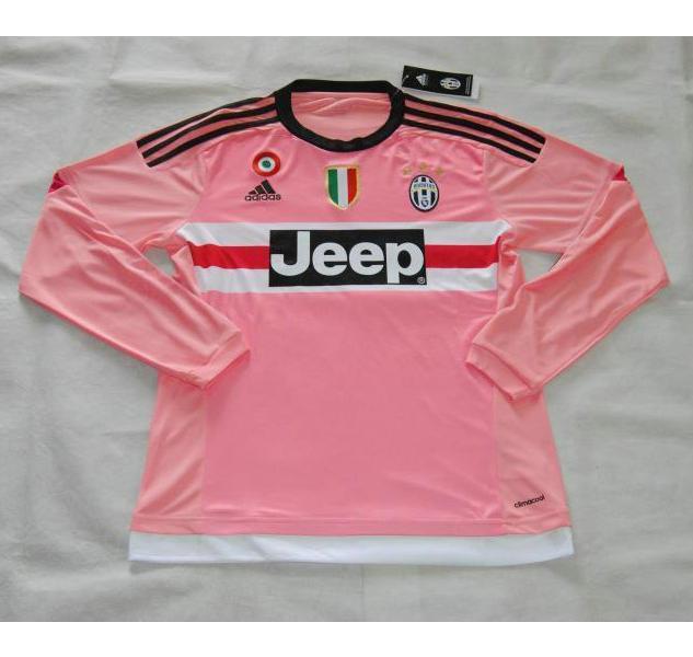 15-16 Juventus Away Pink Long Sleeve Jersey Shirt  85a9bc954