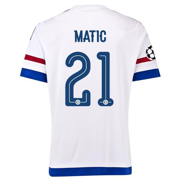 huge selection of 7859b e2264 15-16 Chelsea Away White Matic #21 Champion League Jersey Shirt