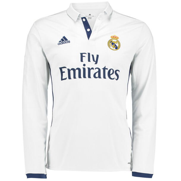 detailed look 2e30b ab65e 16-17 Real Madrid Home Long Sleeve Jersey Shirt