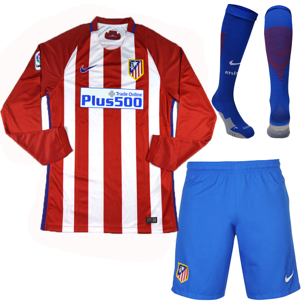 163bf63e51f 16-17 atletico madrid home lfp version long sleeve jersey whole kit